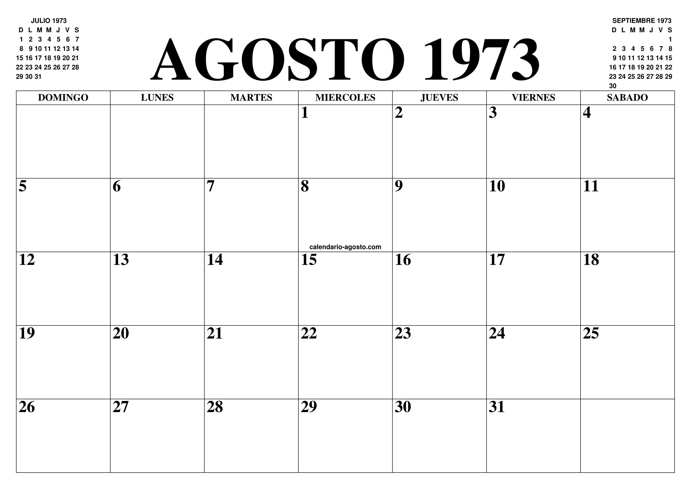 Calendario 1973.Calendario Agosto 1973 El Calendario Agosto Para Imprimir