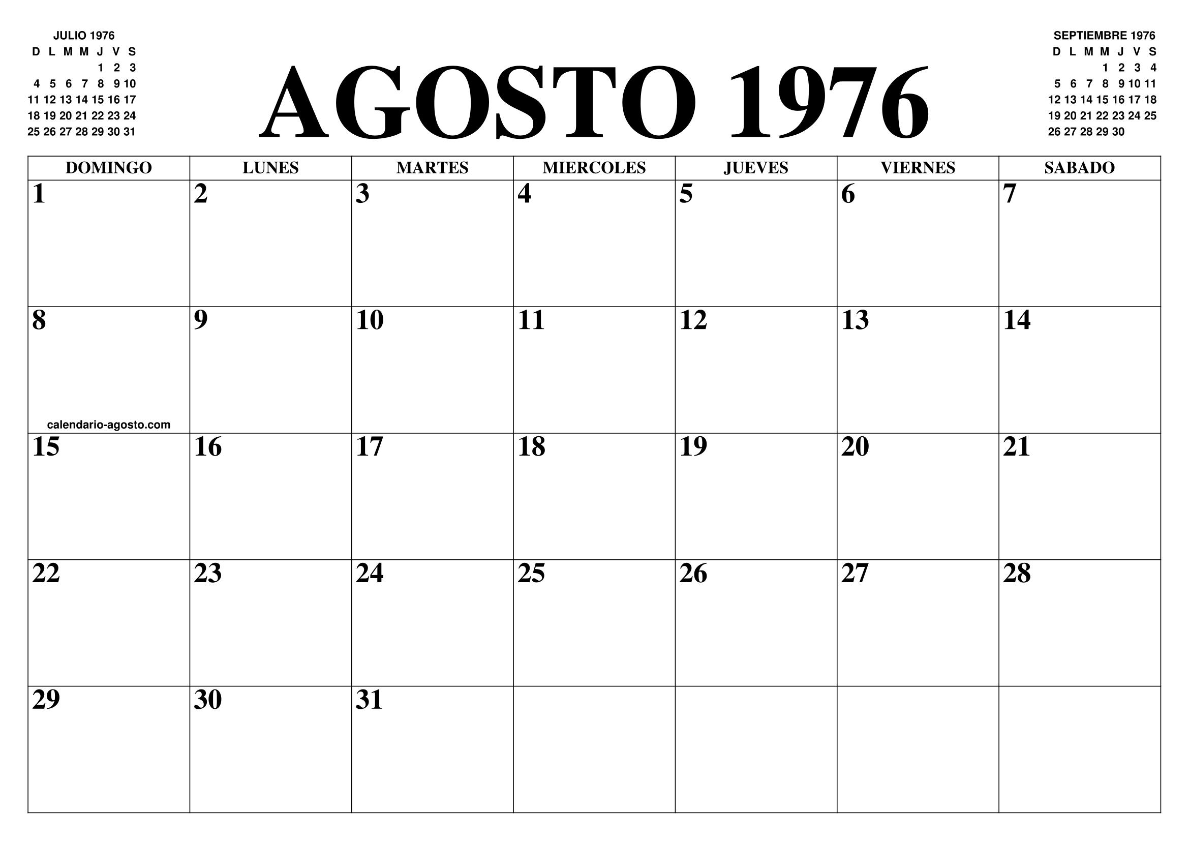 Calendario Julio 1976.Calendario Agosto 1976 El Calendario Agosto Para Imprimir