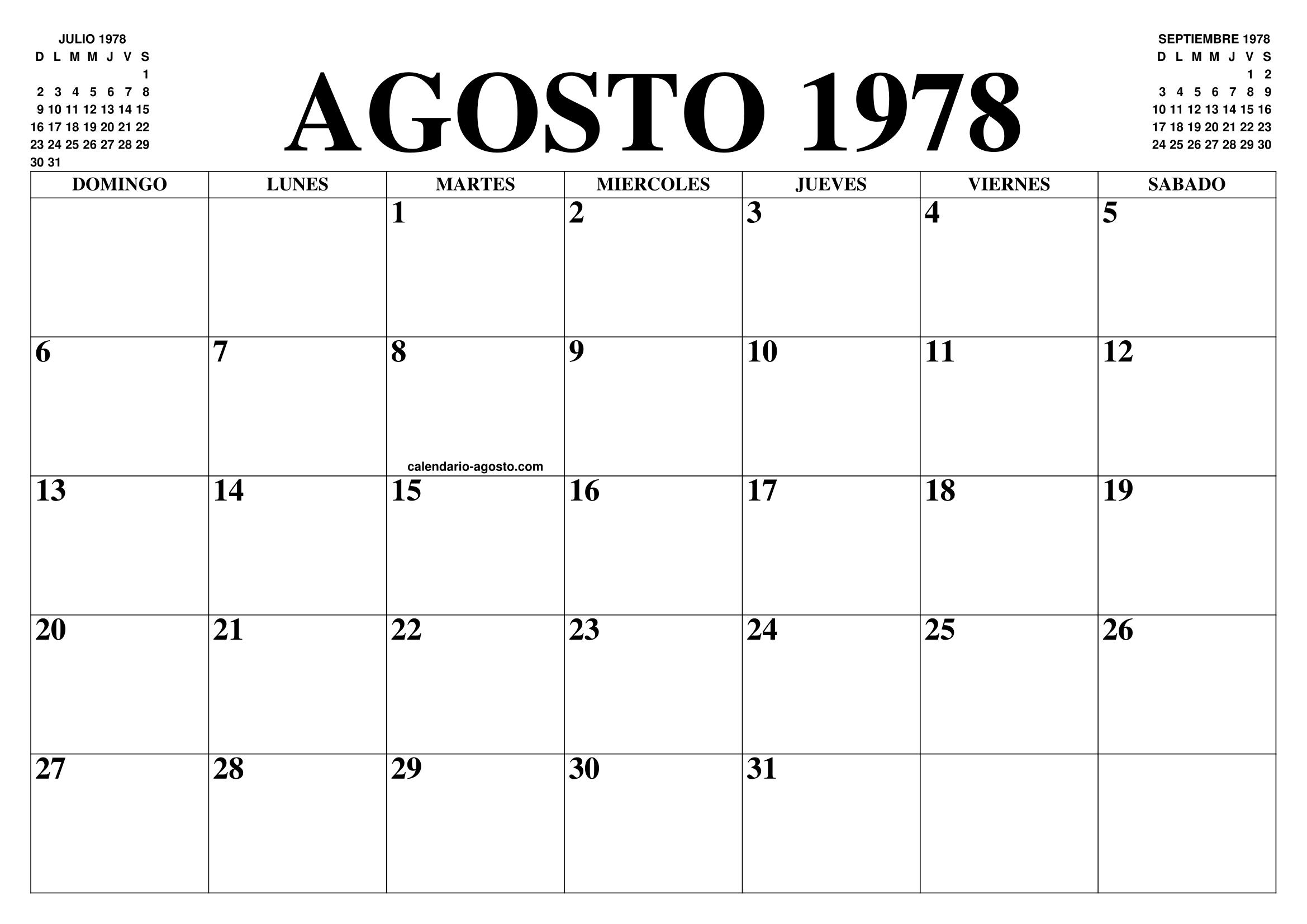 Calendario 1978.Calendario Agosto 1978 El Calendario Agosto Para Imprimir