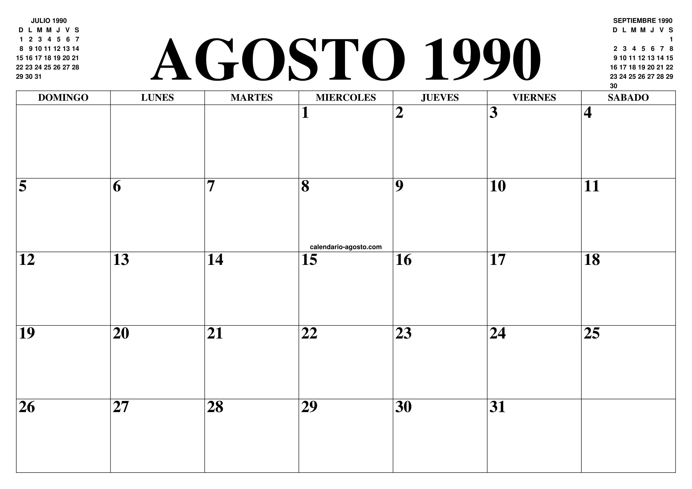 1990 Calendario.Calendario Agosto 1990 El Calendario Agosto Para Imprimir