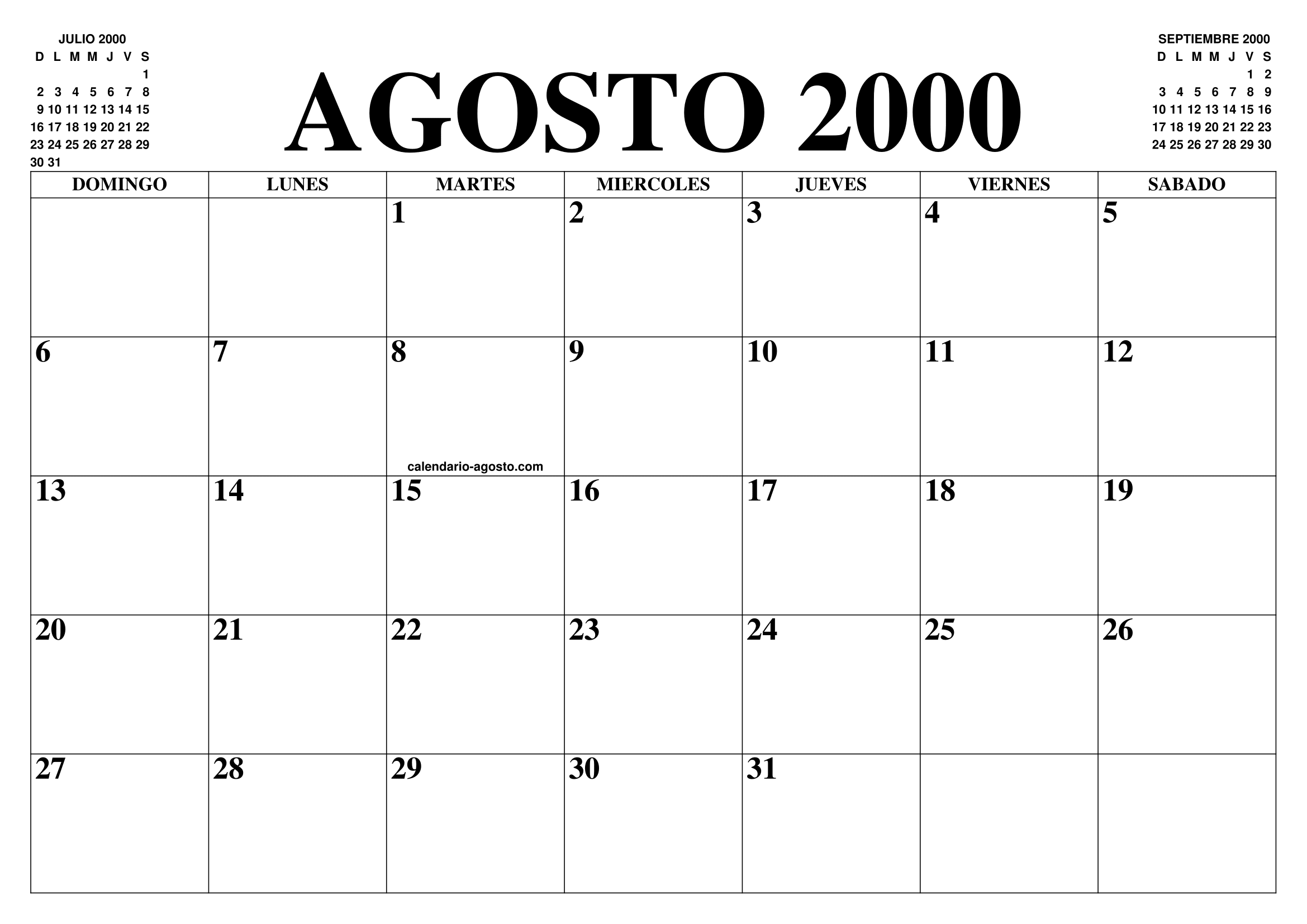Calendario Del 2000.Calendario Agosto 2000 El Calendario Agosto Para Imprimir