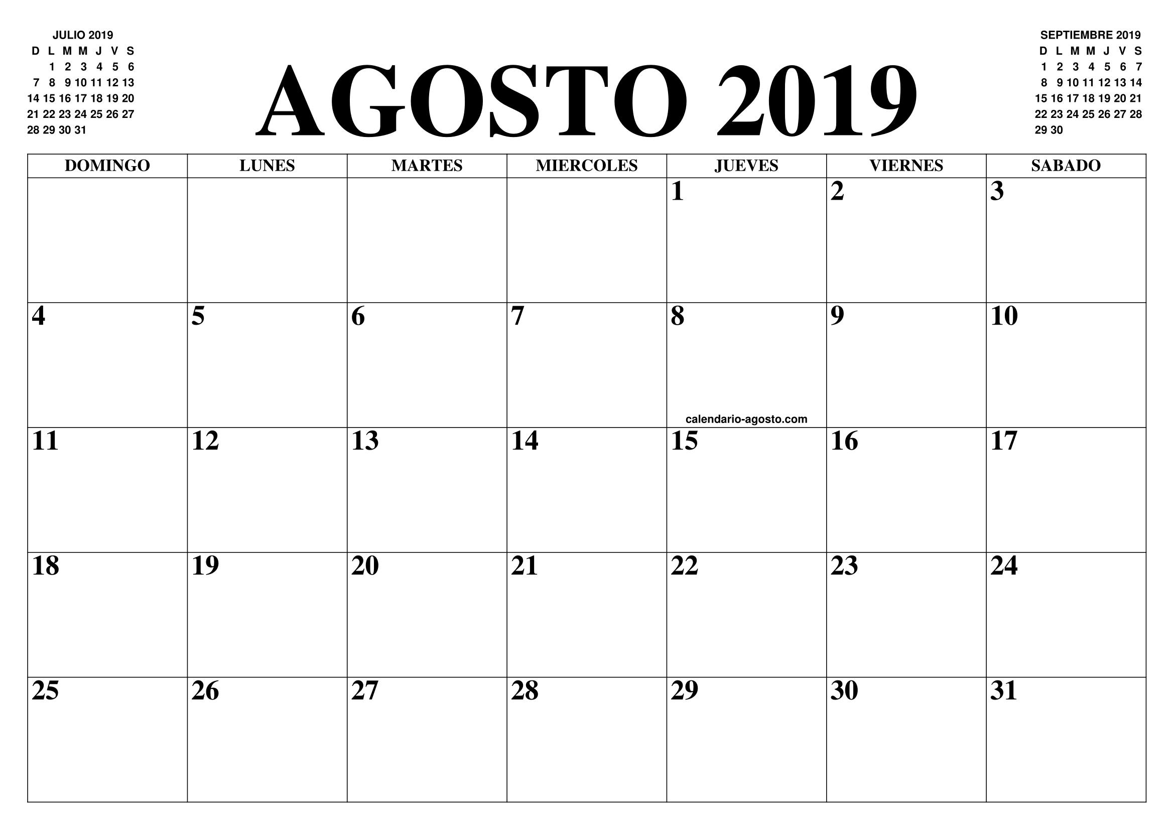 Calendario De Agosto 2019 Para Imprimir.Calendario Agosto 2019 2020 El Calendario Agosto 2019