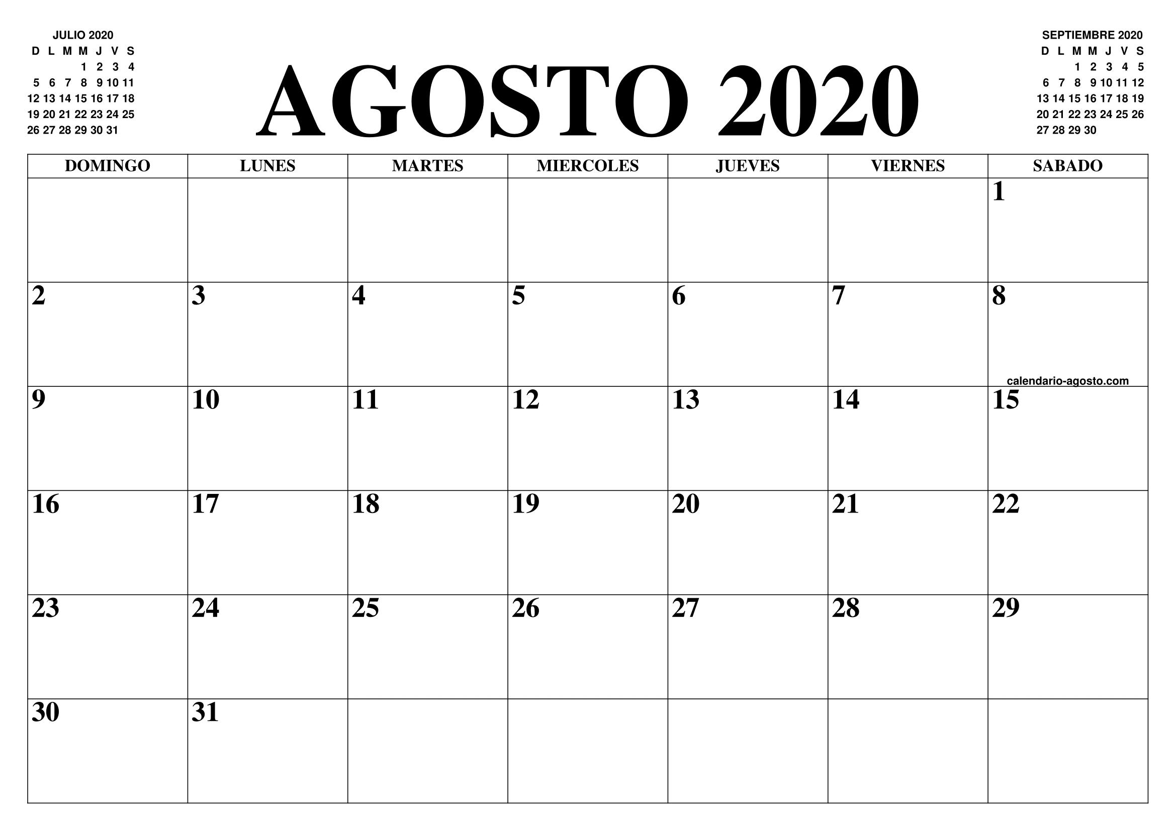 Calendario Julio 2020 Para Imprimir.Calendario Agosto 2020 El Calendario Agosto Para Imprimir Gratis